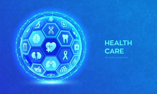 Pojęcie opieki zdrowotnej i usług medycznych. streszczenie 3d kuli lub globu.