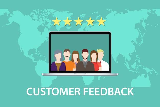 Pojęcie opinii klientów z ocena gwiazda i wektor laptopa