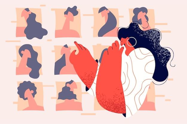 Pojęcie piękna, mody i technologii online. młoda stylowa kobieta kreskówka patrząc na