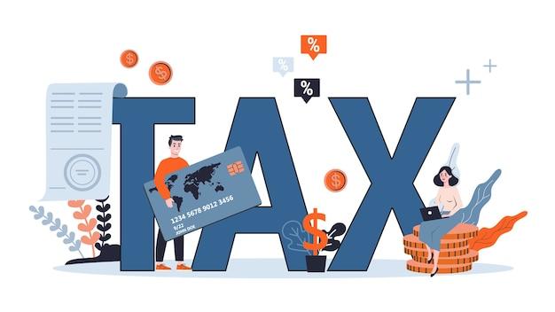 Pojęcie podatku. idea księgowości i płatności. rachunek finansowy. dane w dokumencie i formalności. ilustracja