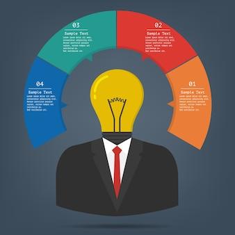 Pojęcie pomysłu żarówki infographics biznes