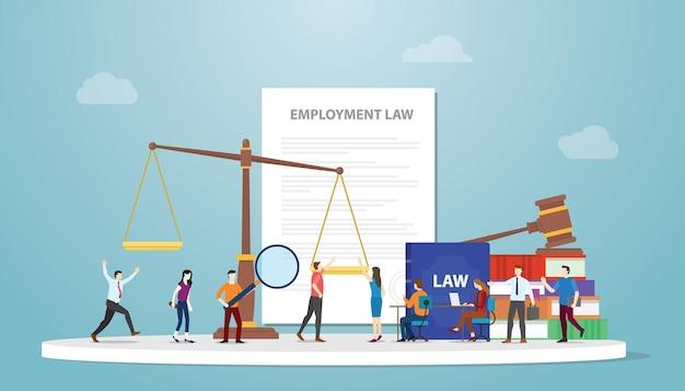 Pojęcie prawa pracy z dokumentem i wagą młotkową oraz pracownikiem ludzi