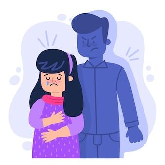 Pojęcie przemocy płci ilustrowane smutnym płaczem kobiety