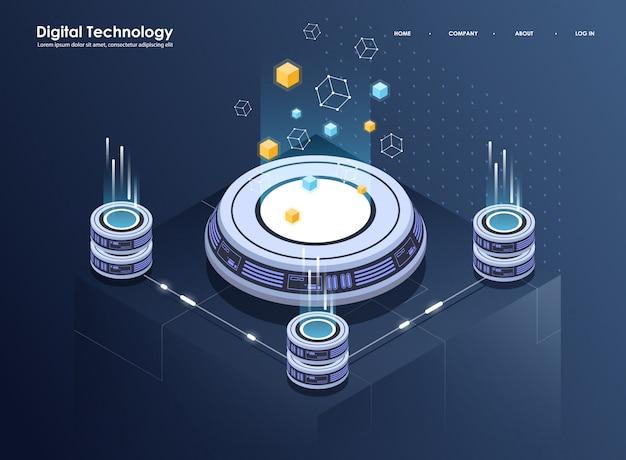 Pojęcie przetwarzania dużych danych, izometrycznego centrum danych, przetwarzania i przechowywania informacji wektorowych. kreatywnie ilustracja z abstrakcjonistycznymi geometrycznymi elementami.