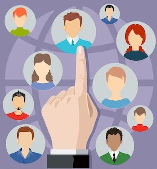 Pojęcie rekrutacji. rozmowa kwalifikacyjna lub rozmowa kwalifikacyjna. zasoby ludzkie ilustracja hr rekrutacja zarządzanie zatrudnieniem.