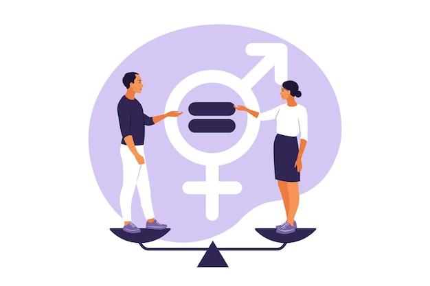 Pojęcie równości płci. mężczyźni i kobiety figurują na skalach równości płci. ilustracja wektorowa. mieszkanie.