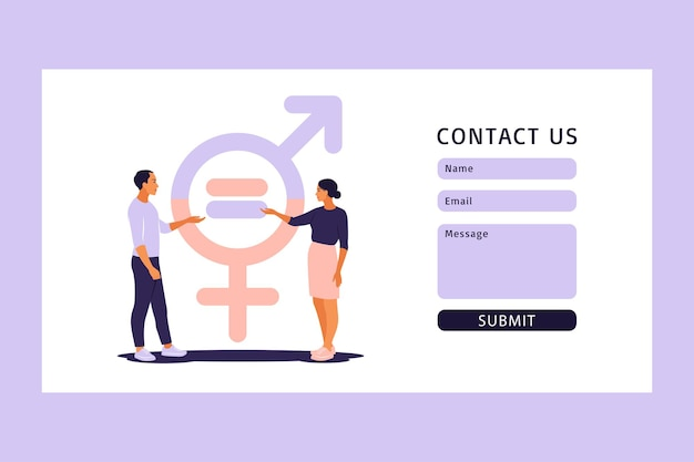 Pojęcie równości płci. skontaktuj się z nami za pomocą formularza internetowego. mężczyźni i kobiety figurują na skalach równouprawnienia płci. ilustracja wektorowa. mieszkanie.