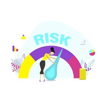 Pojęcie ryzyka na prędkościomierzu jest wysokie, średnie, niskie. kobieta zarządza ryzykiem w biznesie lub życiu. ilustracja wektorowa płaski.