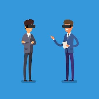 Pojęcie rzeczywistości wirtualnej. kreskówka ludzie biznesu za pomocą zestawu słuchawkowego rzeczywistości wirtualnej.