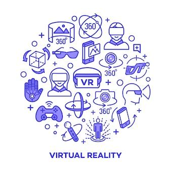 Pojęcie rzeczywistości wirtualnej z kolorowymi elementami na białym tle.