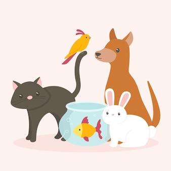 Pojęcie śliczni różni zwierzęta domowe