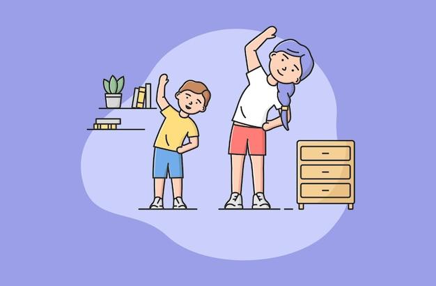 Pojęcie spędzania czasu rodziny, zdrowy styl życia. szczęśliwa matka spędza czas z synem. kobieta robi ćwiczenia rano indoor z małym chłopcem. kreskówka liniowy zarys płaski styl. ilustracji wektorowych.