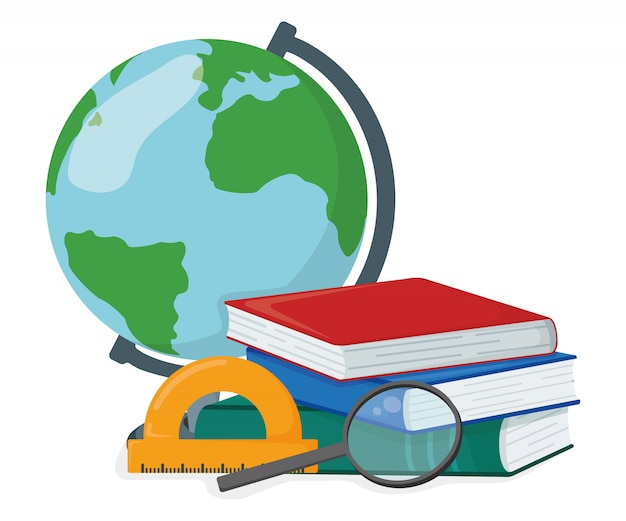 Pojęcie sterty książki szkoły materiał z kulą ziemską, powiększający - szkło odizolowywający na bielu, kreskówki ilustracja. przestudiuj podręczniki szkolne i uniwersyteckie.