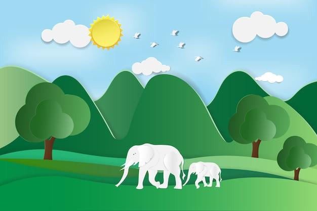 Pojęcie światowy przyroda dzień z słoniem w niebieskim niebie i lesie