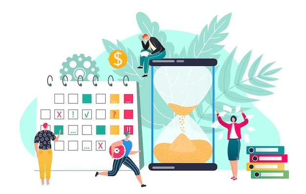 Pojęcie terminu ilustracji zarządzania czasem. efektywne spędzanie czasu, planowanie czasu. klepsydra i planer, harmonogram organizacji pracy. szacunek dla terminów. wydajny dzień pracy.
