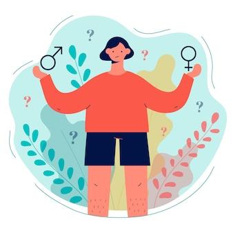 Pojęcie tożsamości płciowej z ilustrowaną osobą