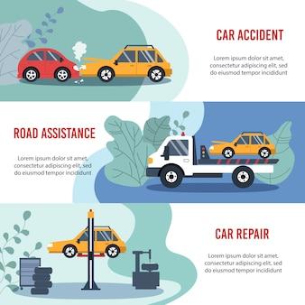 Pojęcie ubezpieczenia komunikacyjnego: wypadek samochodowy, pomoc drogowa, naprawa samochodu. płaski poziomy