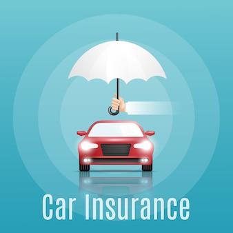 Pojęcie ubezpieczenia samochodu. baner z tekstem