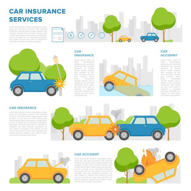 Pojęcie ubezpieczenia samochodu na wypadek różnych zdarzeń. szablon strony z miejscem na tekst i różne wypadki samochodowe. kolorowy, styl kreskówkowy.