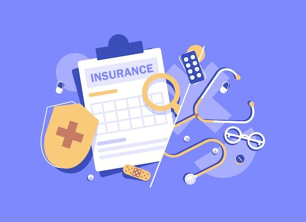Pojęcie ubezpieczenia zdrowotnego transparent, medycyny i opieki zdrowotnej koncepcja płaska konstrukcja