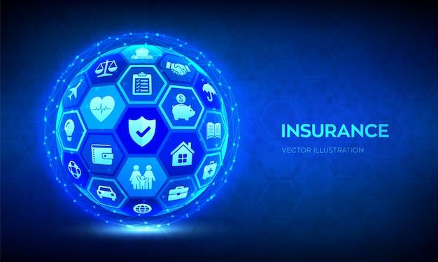 Pojęcie usług ubezpieczeniowych. abstrakcjonistyczna 3d sfera lub kula ziemska z ikonami. ubezpieczenie samochodu, podróży, rodziny i życia, nieruchomości, finansów i zdrowia.