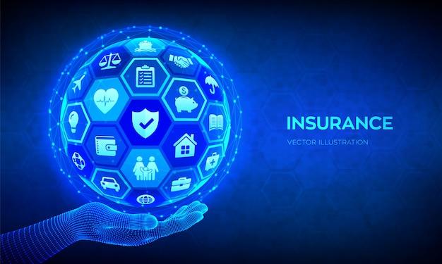 Pojęcie usług ubezpieczeniowych. abstrakcjonistyczna 3d sfera lub kula ziemska z ikonami w ręce.