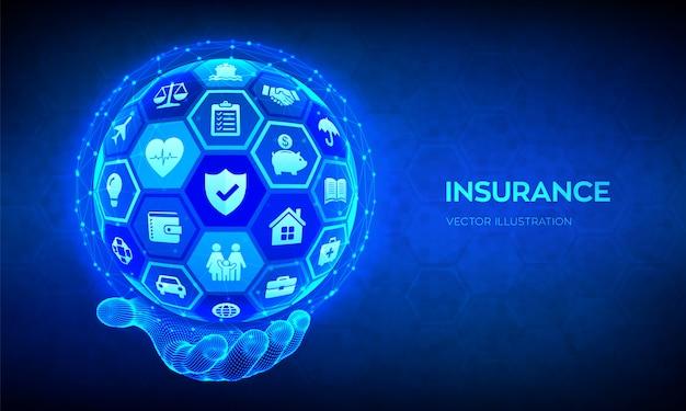 Pojęcie usług ubezpieczeniowych. ubezpieczenie samochodu, podróży, rodziny, nieruchomości i ubezpieczenia zdrowotnego. abstrakcjonistyczna 3d sfera lub kula ziemska z ikonami w ręce.