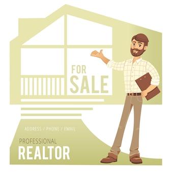 Pojęcie usług związanych z nieruchomościami. agent pokazuje dom.