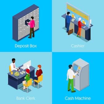 Pojęcie usługi bankowe izometryczny. depozyt, kasjer, urzędnik bankowy, bankomat. 3d płaska ilustracja