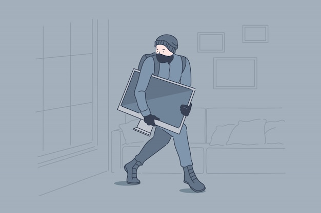Pojęcie włamania, przestępczości, rabunku, kradzieży