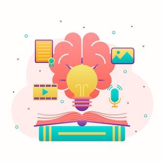 Pojęcie własności intelektualnej z mózgiem i żarówką