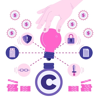 Pojęcie własności intelektualnej z ręki trzymającej żarówkę