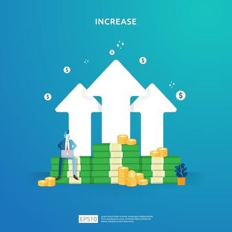 Pojęcie wydajności finansów. zysk firmy rośnie wraz ze wzrostem strzałki w górę i charakterem ludzi. stopa wynagrodzenia rośnie marża przychodu z symbolem dolara. ilustracja zwrotu z inwestycji