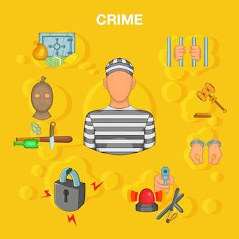 Pojęcie wypadku przestępczości, stylu cartoon
