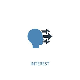 Pojęcie zainteresowania 2 kolorowa ikona. prosta ilustracja niebieski element. interes koncepcja symbol projekt. może być używany do internetowego i mobilnego interfejsu użytkownika/ux