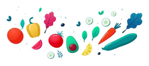 Pojęcie Zdrowego Odżywiania, Stylu życia. Owoce I Warzywa. Premium Wektorów