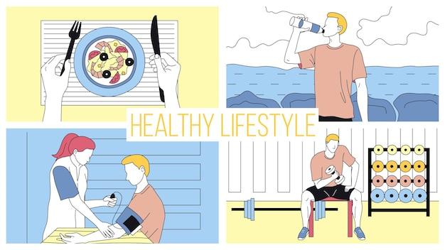 Pojęcie zdrowego stylu życia i sportu aktywnego. młody człowiek po diecie i zdrowiu, mierzy ciśnienie, robi ćwiczenia w siłowni z hantlami. kreskówka liniowy zarys płaski styl. ilustracji wektorowych.