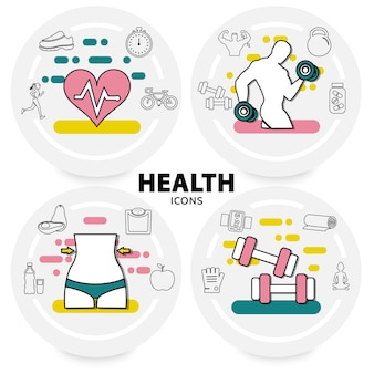 Pojęcie zdrowego stylu życia z sercem sportowców sprzęt sportowy jabłko awokado witaminy skale trampki