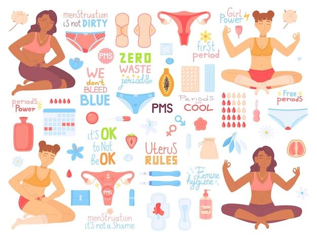 Pojęcie zdrowia miesiączki i kobiety dziewczyna w bólu pms napis zero odpadów symbol menstruacji