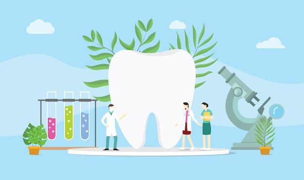 Pojęcie zdrowia stomatologicznego z lekarzem i niektórych urządzeń