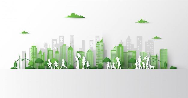 Pojęcie zielony miasto z budynkiem na ziemi.