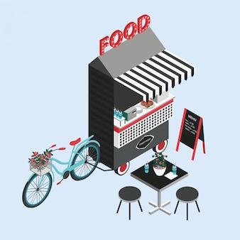 Pojęcie żywności ulicznej. kiosk rowerowy, foodtruck, przenośna kawiarnia na kółkach. izometryczne ilustracja z punktu sprzedaży fastfood, stół i krzesła. widok z góry. kolorowy wektor.