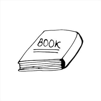 Pojedyncza książka ciągnione. doodle ilustracji wektorowych w ładny skandynawski styl. na białym tle
