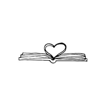 Pojedyncza książka ciągnione. doodle ilustracji wektorowych w ładnym stylu skandynawskim. element do kart okolicznościowych, plakatów, naklejek i sezonowych projektów. na białym tle