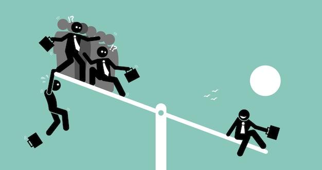 Pojedyncza osoba jest cięższa niż grupa ludzi na huśtawce i przeważa nad nimi.