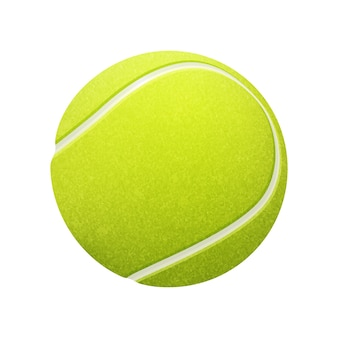 Pojedyncza piłka tenisowa na białym tle.