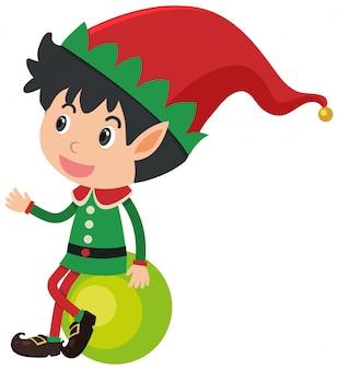 Pojedyncza postać elfa na zielonej piłce na bielu