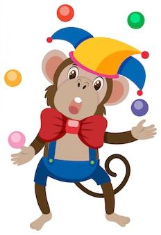 Pojedyncza postać małpich piłek żonglujących