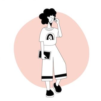 Pojedyncza postać młodej dziewczyny do projektowania karty przyjaciół, zaproszenia na przyjęcie, strony plakatu, nadruku na koszulce itp.