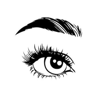 Pojedyncze czarno-białe kobiece oczy